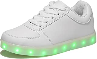 HOOSION High Top Led Light up Shoes for Little Kid/Big Kid USB Rechargeable Sports Dancing White Sneakers