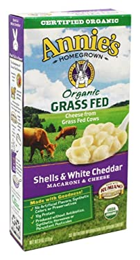 Annies Homegrown Organic Grass Fed Shells and White Cheddar Macaroni and Cheese, 6 Ounce (Pack of 12)