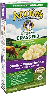 Annies Homegrown Organic Grass Fed Shells and White Cheddar Macaroni and Cheese, 6 Ounce, Pack of 12