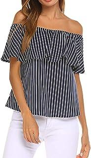 Yvelands de Mujer Fuera del Hombro Volantes Impresos a Rayas Blusa Informal Camisa Suelta Tops