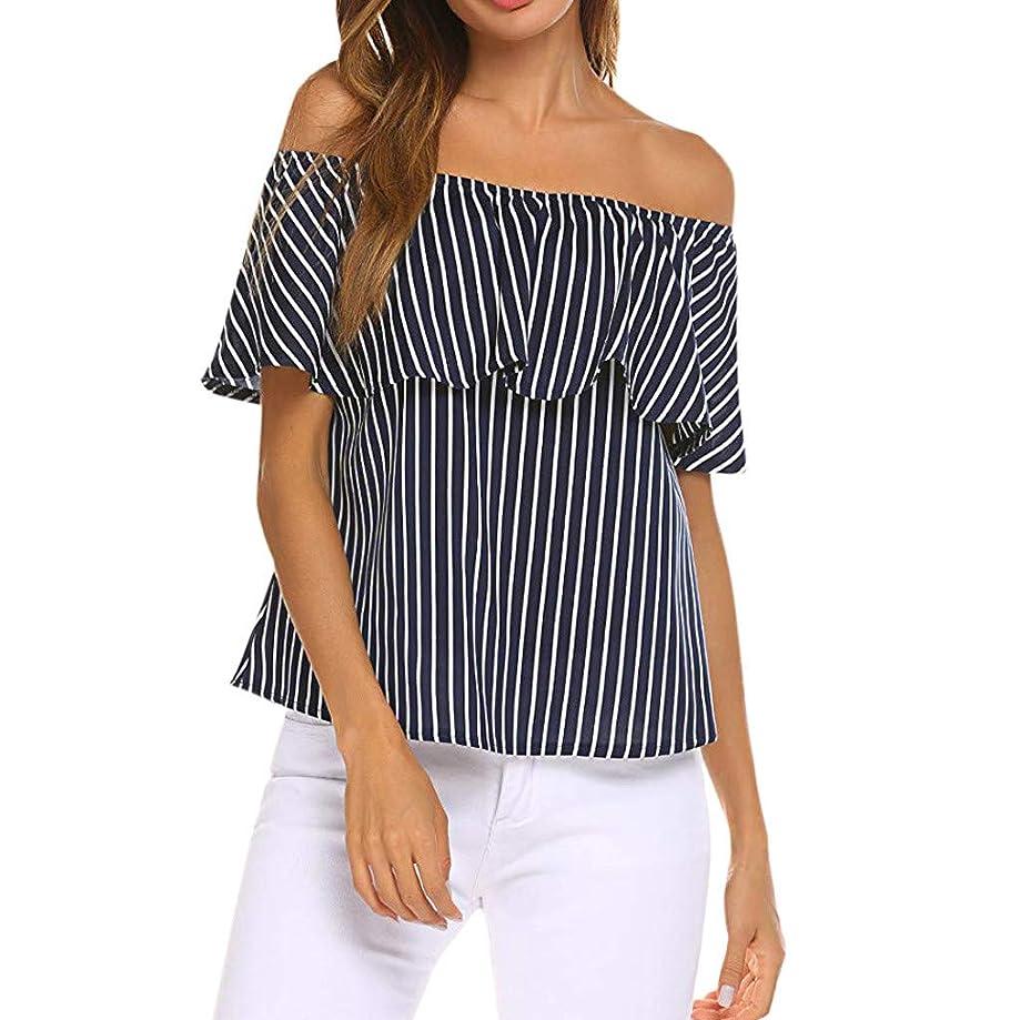 Womens Off The Shoulder T-Shirt Short Sleeve Tops Pop Pop Trim Ruffle Loose Summer Striped Shirt Blouses