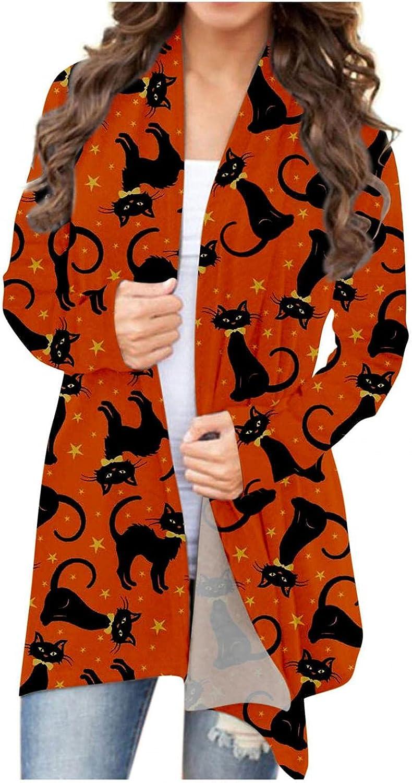Halloween Shirts for Women Plus Size,Kirbyates Women Halloween Long Sleeve Open Front Cardigan Funny Cute Pumpkin Animal Cat Ghost Graphic Tops Lightweight Coat (S-2XL)