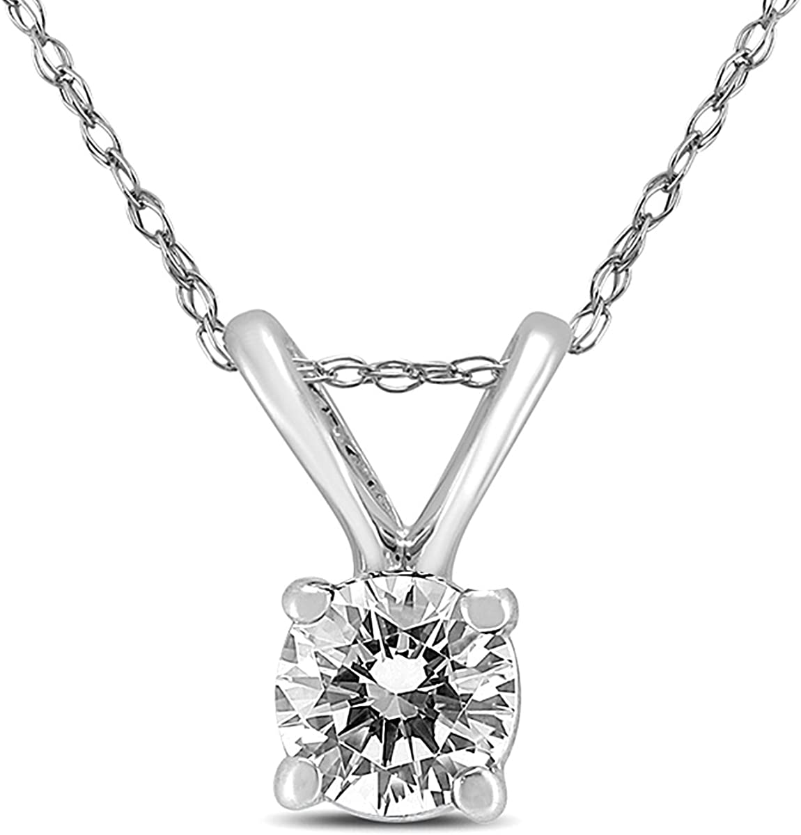 14K Beauty products White Gold 1 4 Pendant Max 44% OFF Diamond Carat Solitaire