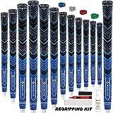 SAPLIZE マルチコンパウンドゴルフグリップ 13グリップ 15テープ ミッドサイズ (溶剤 ナイフ バイスクランプ付属) ハイブリッドコードゴム ブルー/レッド/グリーン/ホワイトオプション ゴルフクラブグリップ Midsize ブルー