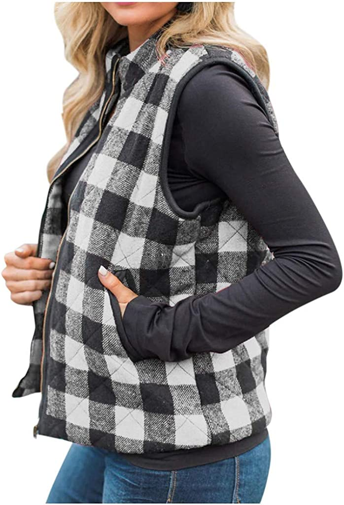✤ HebeTop Womens Quilted Vest Detroit gift Mall Plaid Buffalo Jacket C