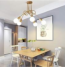 Garwarm Modern Sputnik Chandelier, Mid-Century 5 Lights Glass Pendant Lighting,Industrial Brushed Nickel Ceiling Light Fix...