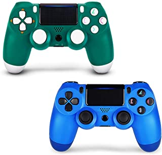 2 Pack Controller for PS4,Wireless Controller for Playstation 4 with Dual Vibration Game Joystick (Green + Blue)