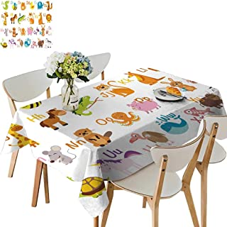 UHOO2018 Square/Rectangle Indoor and Outdoor Tablecloth imals Birds imal Alphabet Restaurant Party,54 x102inch