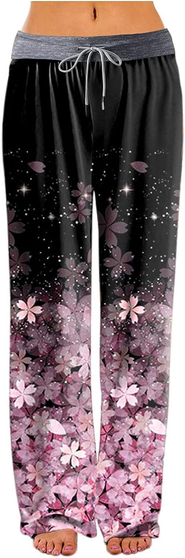 PHSHY Womens Floral Printed Sweatpants Casual Drawstring Elastic Waist Pajama Straight Wide Leg Boho Beach Pants S-XXL