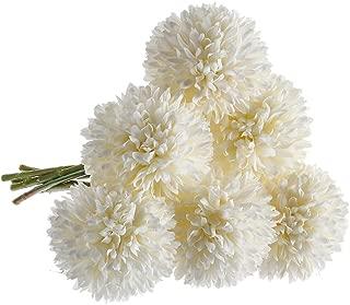 CQURE Artificial Flowers, Fake Flowers Silk Plastic Artificial Hydrangea 6 Heads Bridal Wedding Bouquet for Home Garden Party Wedding Decoration 6Pcs (Milk White)
