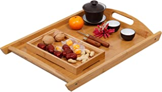 GKanMore Bamboo Serving Tray 17x 12 Inch Rectangle Breakfast Dinner Food Tray with Handles Ideal for Parties Coffee Table ...