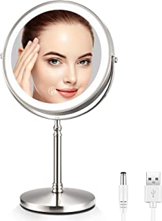Lighted Makeup Mirror 10X Magnifying, 8 Inch Dual Sided Makeup Vanity Mirror with 3 Color LED...
