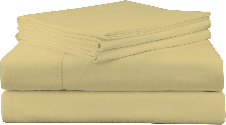 Pointehaven 200 GSM Flannel Sheet Set, Queen, Solid, Straw
