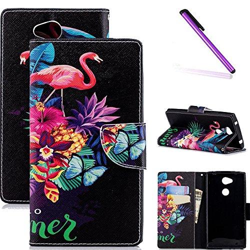 COTDINFOR Sony Xperia L2 Hülle für Lederhülle Hülle süß Schutzhülle PU Leder Flip Hülle Protective Cover Tasche Schale mit Magnet Standfunktion Etui für Sony Xperia L2 Flamingo Butterfly BF.