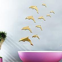 HAOYUMEI Dolphin Combination 3D Acrylic Mirror Wall Stickers DIY Art Decal Murales De Pared Decoración para El Hogar Dormitorio Living Decoration Wallpaper 10 Piezas 1 Juego,Metálico