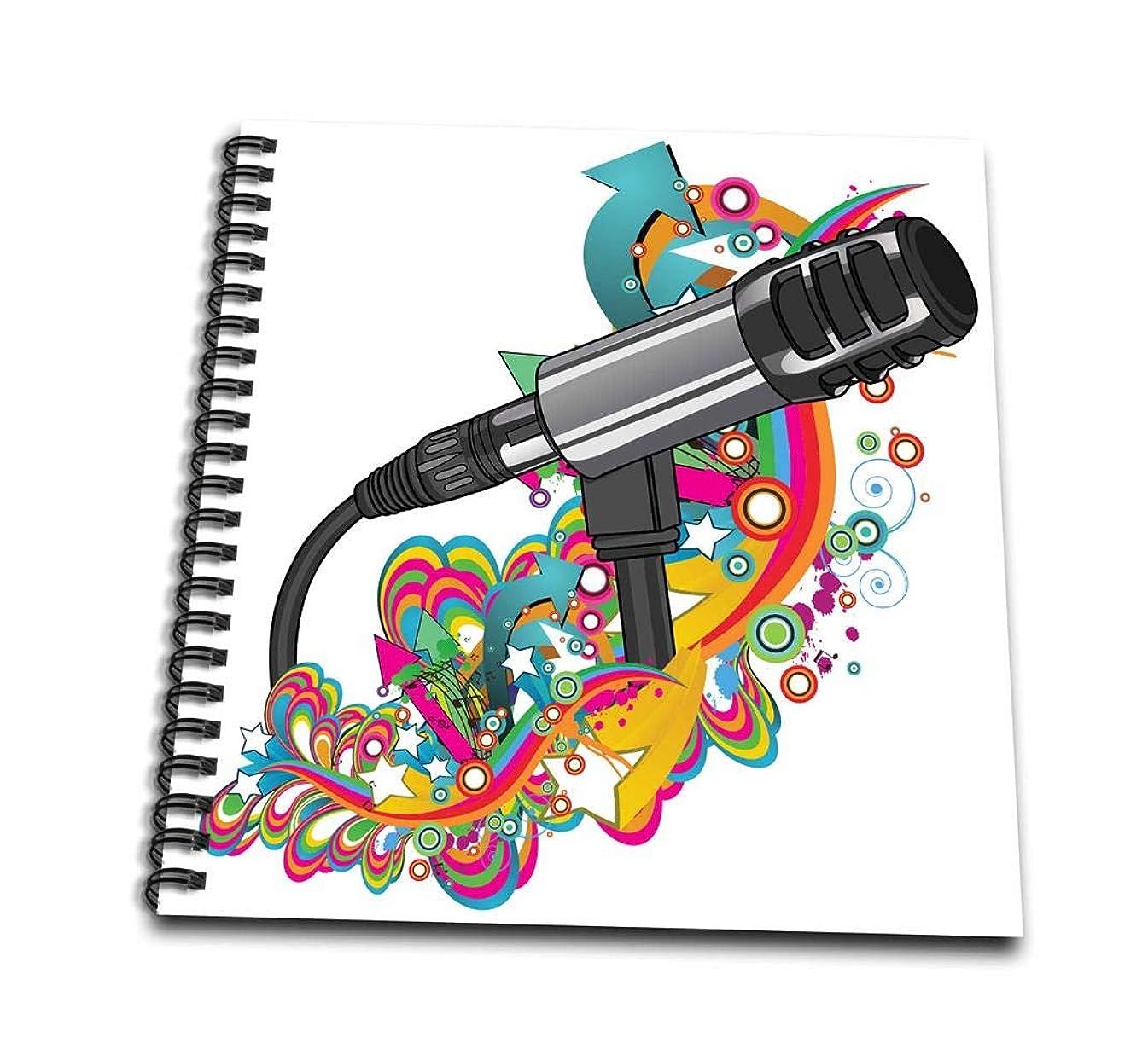 3dRose db_115370_3 Singer Mondern Colorful Pop Art Vector Mic Microphone-Mini Notepad, 4 by 4
