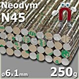 50 NEODYM Magnete selbstklebend NdFeB Ø6x1 mm - 250 G!
