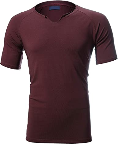 Camiseta Deportiva de Hombre, Manga Corta, Cuello en Y, Camiseta Deporte elástica Cuello Pico para Hombre, Colores múltiples para Elegir