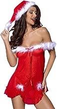 SUGEER 2pc Women Christmas Flirty Pajamas Large Size Simulation Silk Sexy Lace Nightdress + Underwear