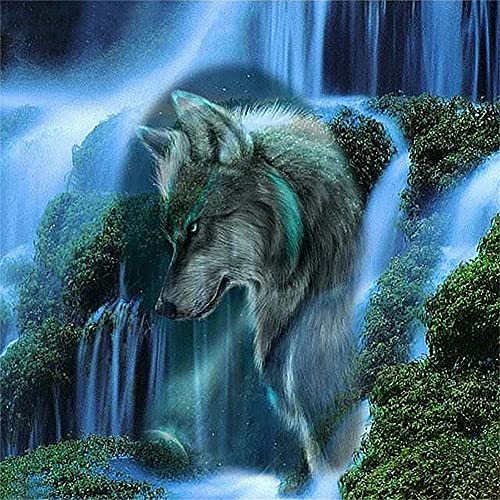 DIY 5d Diamond Painting Kits for Adult,Wolf Waterfall 40x40cm Full Drill Diamond Art Crystal Rhinestone Embroidery Cross Stitch Pictures Canvas Craft for Home Wall Decor Gift Y2911