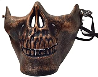 Halloween Costumes Skull Skeleton Mask Full Face Protector Halloween Mask For Cosplay Masquerade Party (Coppery)