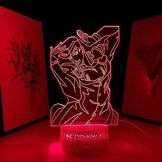 مصباح إضاءة ليلي ثلاثي الأبعاد بإضاءة ليد وقاعدة كراك مع دمية كرتونية غريبة ومغامرة هيجاشيكاتا جوسوكي لغرفة النوم وغرفة ال...