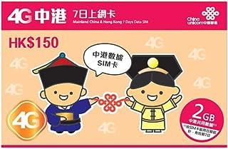 【中国聯通香港】 China Unicom 4G LTE 中国大陸 香港7日間 2GBデータプリペイドSIM [並行輸入品]