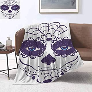 jecycleus Day of The Dead Comfortable Large Blanket Dia de Los Muertos Sugar Skull Girl Face with Mask Make up Print Microfiber Blanket Bed Sofa or Travel W70 by L70 Inch Black White and Blue