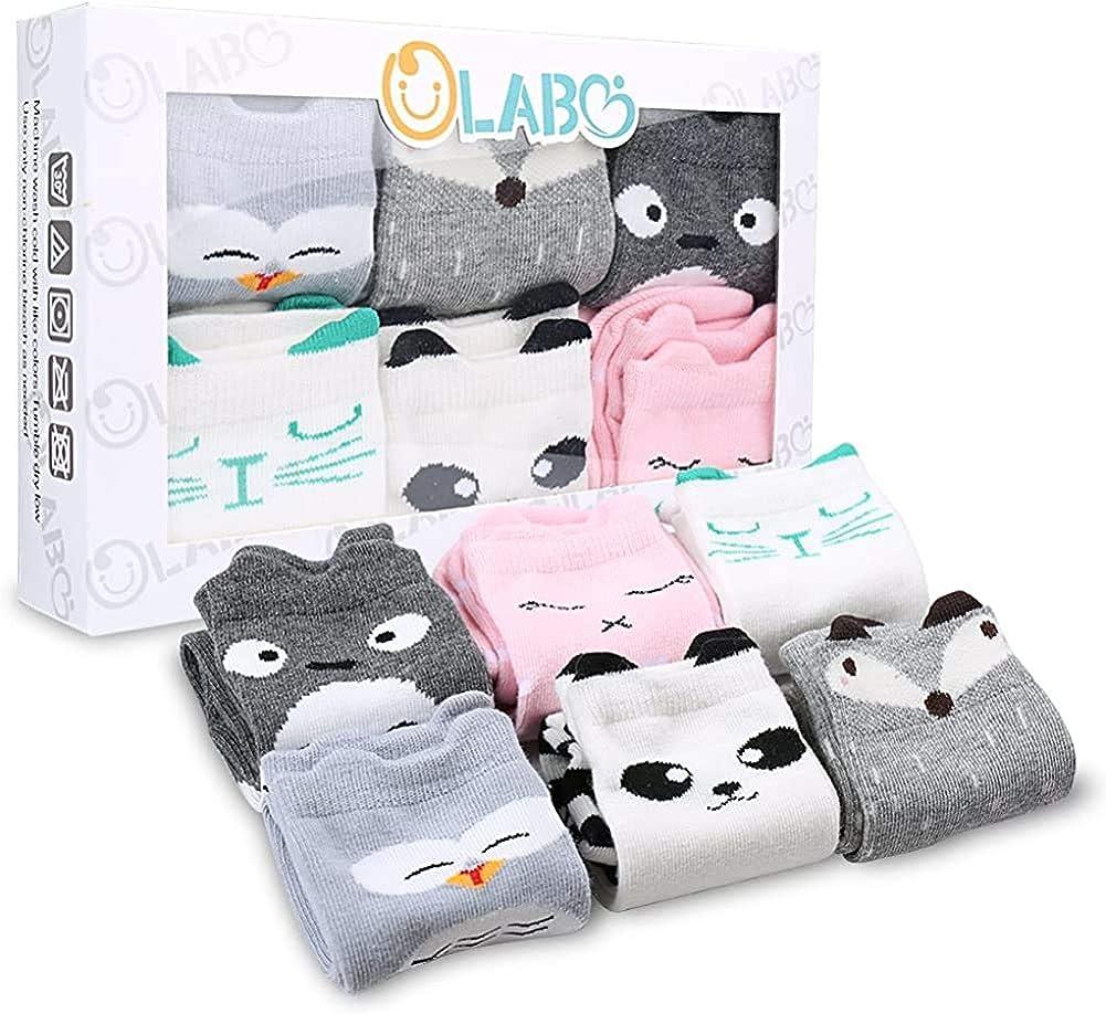 OLABB Baby Socks for Boys Girls Newborn Socks Knee High Socks Animal Theme Gift Unisex 6 Pairs