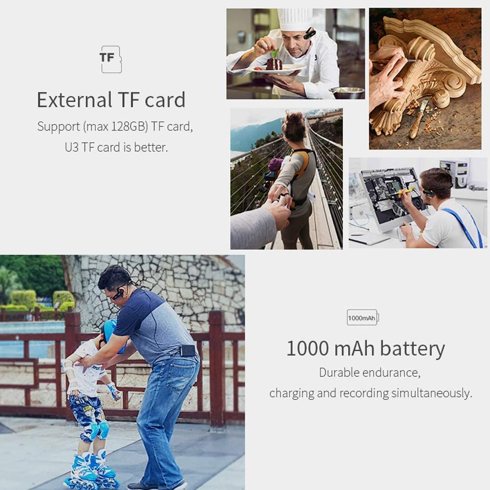 Camcorder 4K Head Mounted Camera ORDRO EP6 Wearable Video Camera FHD 1080P 60FPS Vlog Camera Recorder WiFi Hands-Off Camera Webcam (32GB MicroSDHC U1 Memory Card Included)