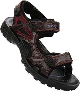 DADAWEN Boys Girls Leather Outdoor Hiking Sandals Summer Beach Adjustable Strap Sport Sandal