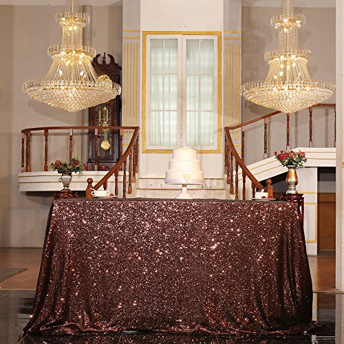 """PartyDelight Sequin Tablecloth, Sequin Table Overlay Square, 50""""x50"""", Brown"""