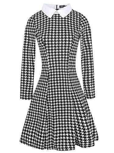 Womens Black Houndstooth Floral Front Tie Waist Summer Semi-Formal Work Dresses(Houndstooth,XL)