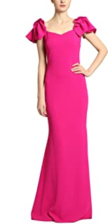 Mermaid Sheath Gown with Princess Neckline, Ruffle Cap Sleeves, Magenta Pink