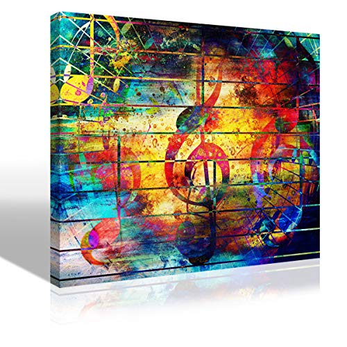 Abstract Picture Watercolor Collage Music Notes Violin Clef Painting Canvas Print Wall Art Colorful Artwork for Living Room Bedroom Karaoke Bar Decoration Modern KTV Home Decor Framed,12'X16'X1Pcs