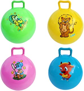 Lsmaa 4pcs Kids Hopper Ball Cartoon Animal Pattern Bouncing Balls with Handle Fitness Training Jumping Toy Competition Hop...