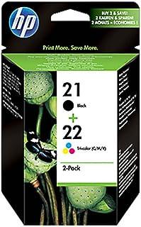 Original Tinten Spar Set HP Nr 21 & Nr 22 SD367AE445   2 Tinten Patronen   Schwarz, Cyan, Magenta, Gelb   360 Seiten