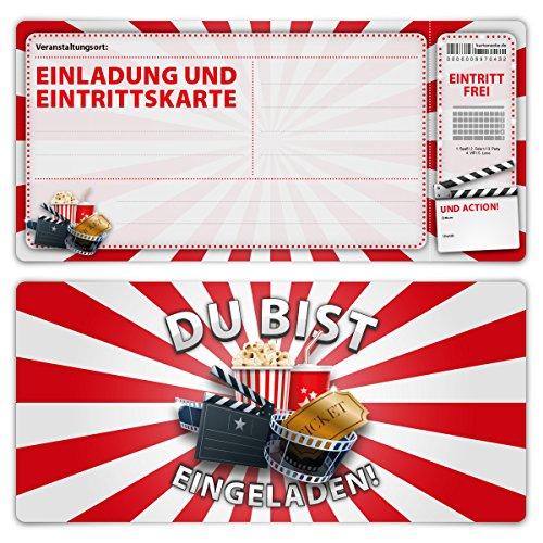 Einladungskarten Erwachsene Geburtstag 12 Stück Karten - Kino Ticket Einladung