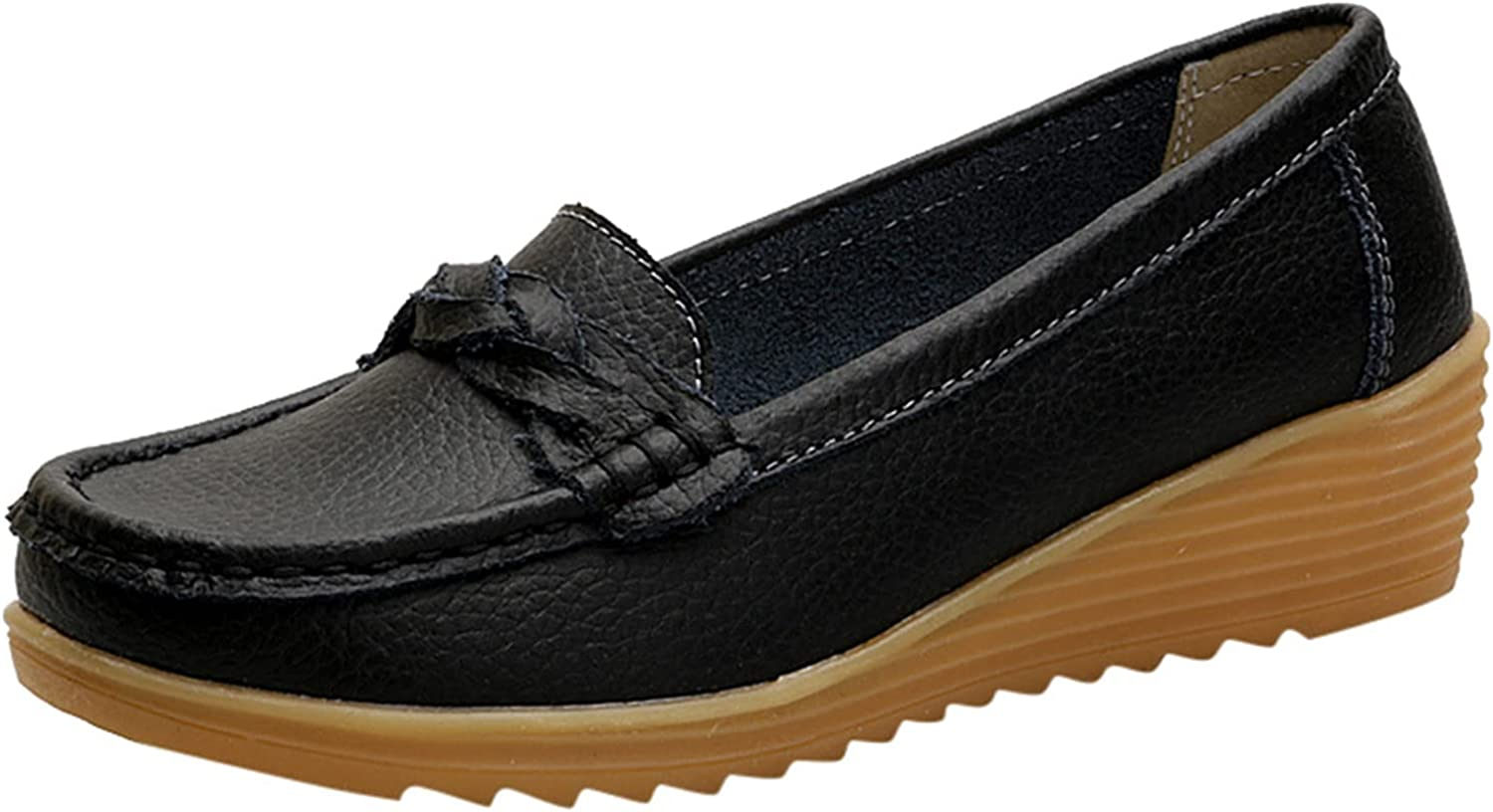 Women's Classic Leather Loafers Casual Slip On Wedge Comfort Driving Office Loafer Shoes Solid Color Slip On Soft Loafers Work Shoe