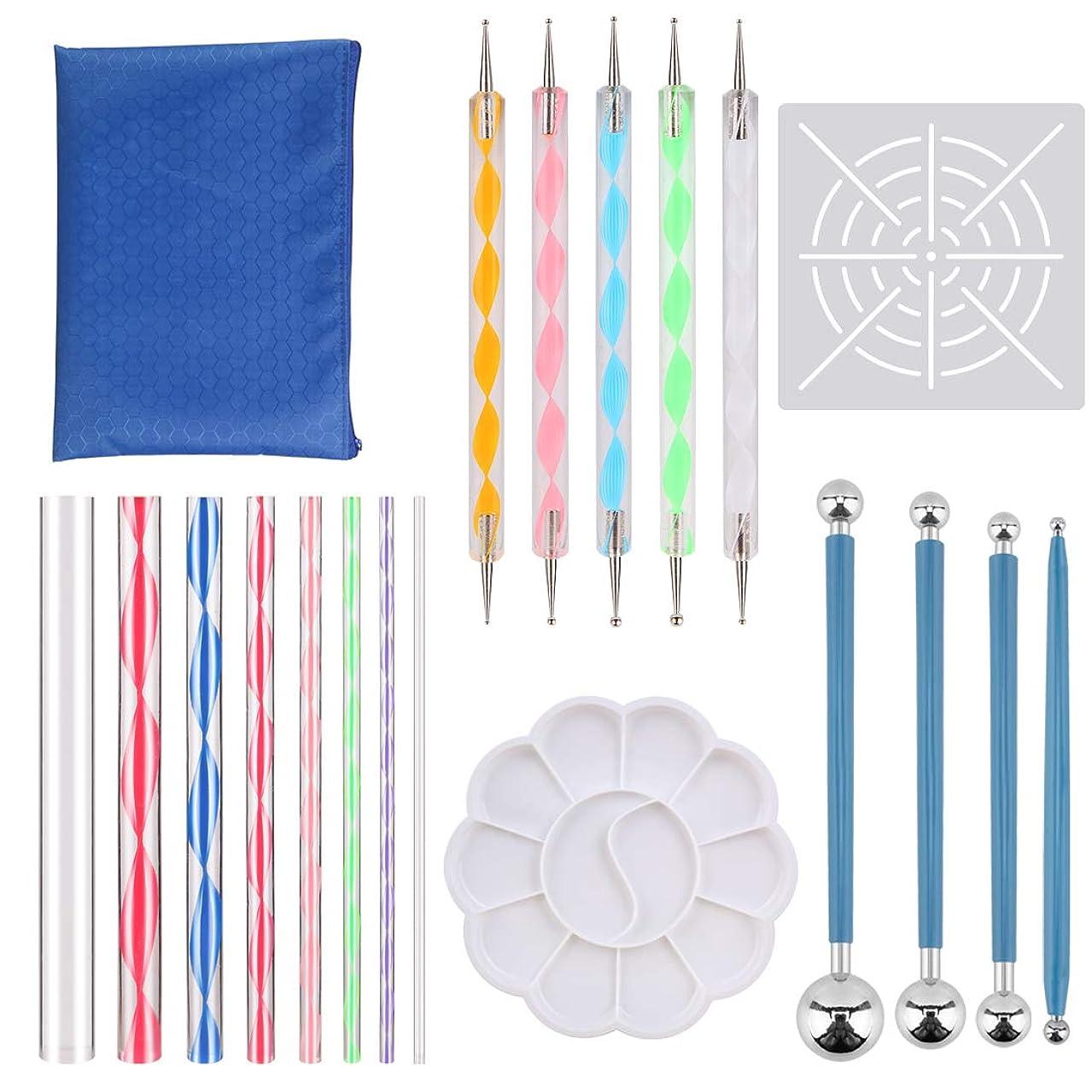Mandala Dotting Tools, Genround 20 Pcs Dotting Tools Set, 4 Blue Rubber Handle Ball Stylus, 5 Color Handle Dotting Tools, 8 Acrylic Rod, Mandala Stencil, Paint Tray and Storage Bag