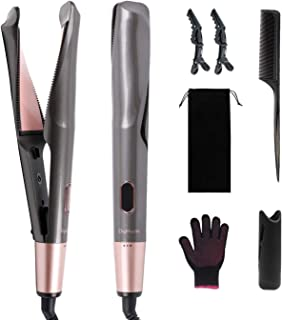 DigHealth Ceramic Tourmaline Ionic Flat Iron Hair Straightener & Curler 2 in 1 with Adjustable...