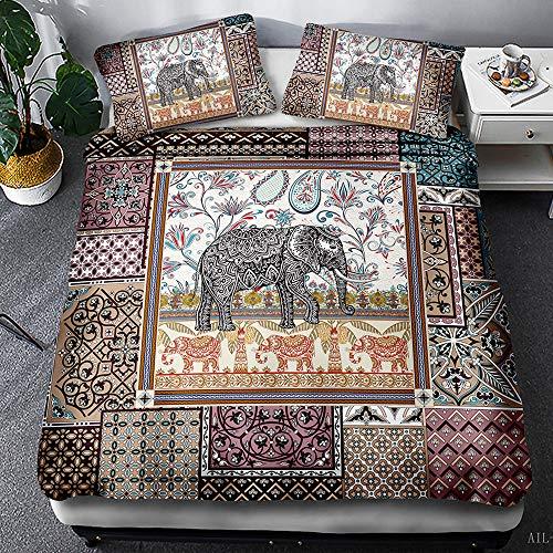 Fansu Bedding Set 2/3 Piece, Elephant Printed Duvet Set Quilt Case Pillow Case - Boys Girls Bedroom Microfiber Duvet Cover Set for Double King Single Bed (Paisley,140x200cm)