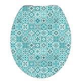 Abattant de WC avec système d'abaissement automatique, qualité stable - Montage facile - Lunette de WC en bois MDF - Fermeture douce - Carreau en patchwork turquoise