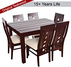 Furny Franco Teak Wood Dining Table Set in Mohgany Polish