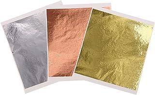 Feuilles d'Or d'Imitation - 300 Pièces de Feuilles de Papier en Métal de 3 Couleurs pour l'Artisanat de Dorure, les Décora...