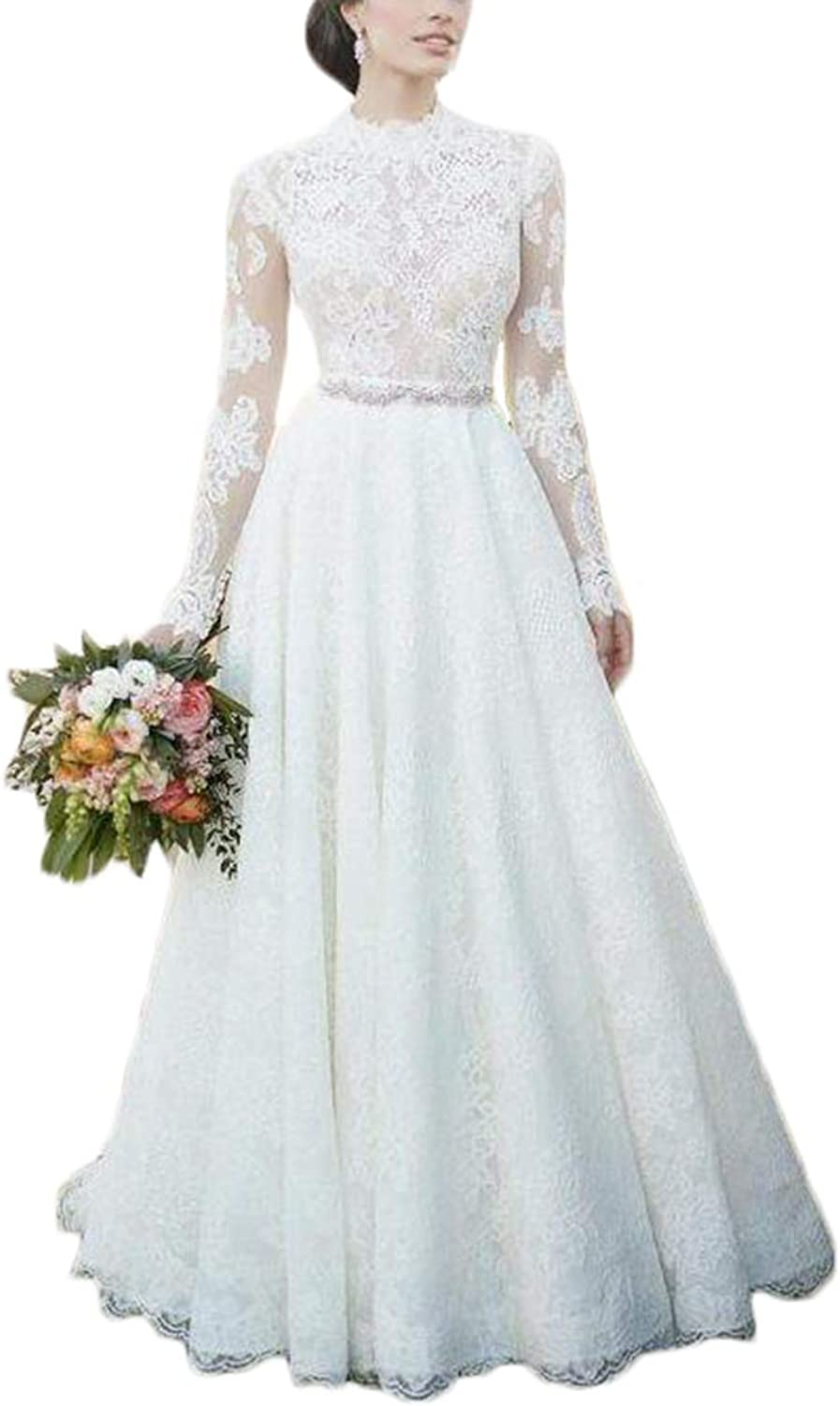 Alilith.Z Elegant Lace Wedding Dresses for Bride 2019 Long Sleeves Beaded Rhinestones Bridal Wedding Gowns for Women