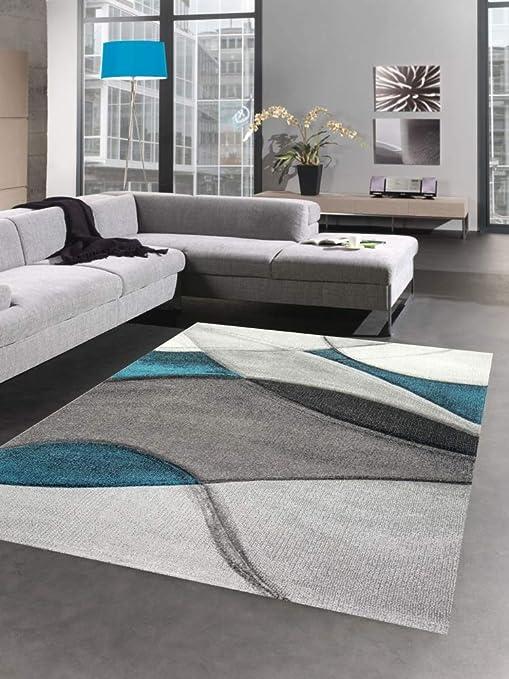 CARPETIA Teppich modern Teppich Wohnzimmer Wellen blau türkis grau
