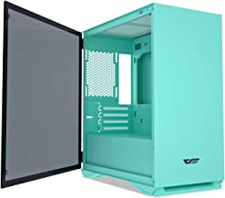 darkFlash Micro ATX Mini ITX Tower MicroATX Computer Case with Door Opening Tempered Glass Side Panel (DLM22 Mint Green)