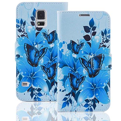 Handyhülle kompatibel mit HTC Desire 510 Hülle [Blue Butterfly Muster] Case HTC Desire 510 Handytasche