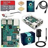 LABISTS Raspberry Pi 3 B+ Starter Kit 16 Go Micro SD Carte Classe 10, 5V 3A Alimentation Interrupteur Marche/Arrêt et Boîtier Transparent (Version Améliorée)